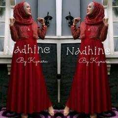 baju muslim modern, Pusat-Gamis-Terbaru-Nadhine-by-kynara-Dark-Red