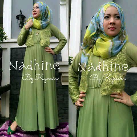 nadhine hijau pupus baju muslim gamis modern