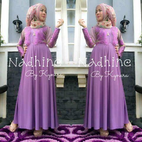 Nadhine By Kynara Purple Baju Muslim Gamis Modern