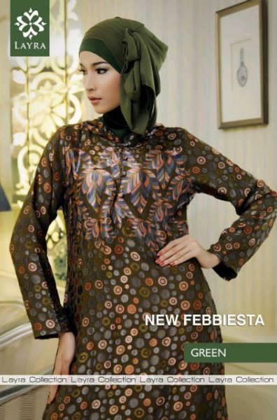 Febiesta Abaya Green Baju Muslim Gamis Modern