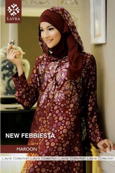 Febiesta Abaya Maroon Baju Muslim Gamis Modern