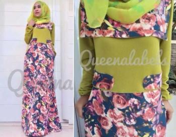 baju muslim elegan modern Pusat-Gamis-Terbaru-New-Souza-Dress-by-Queena-Hijau-Pupus