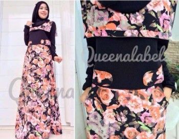 mode busana muslim modern, Pusat-Gamis-Terbaru-New-Souza-Dress-by-Queena-Hitam