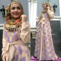 model busana muslim pesta, Pusat-Gamis-Terbaru-Sofia-by-Kynara-Cream-Purple
