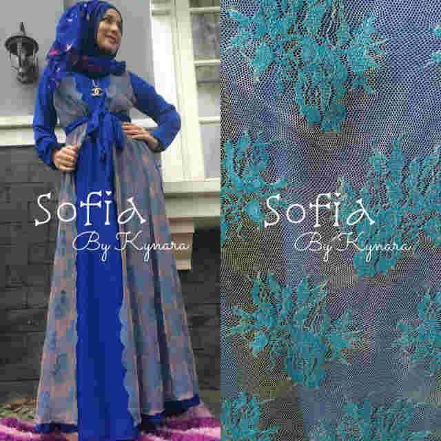 Sofia By Kynara Hijau Elctrc Baju Muslim Gamis Modern