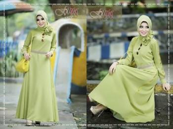 baju muslim elegan modern Pusat-Gamis-terbaru-Afifa-by-Fitria-Style-Hijau