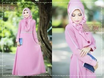 baju muslim modern hijab Pusat-Gamis-terbaru-Afifa-by-Fitria-Style-Pink