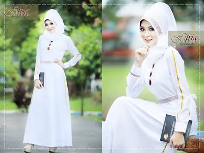Afifa By Fitria Style Putih Baju Muslim Gamis Modern