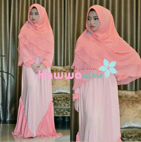 model baju muslimah trendy  Nabawiyya Peach