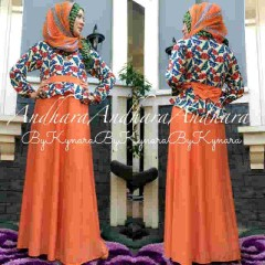baju muslimah terbaru Pusat-Gamis-Terbaru-Andhara-by-Kynarra-Orange