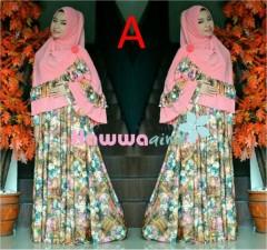 Model Baju Hijabers Style Pusat-Gamis-Terbaru-Azwa-Flower-Vol-1-Kode-A