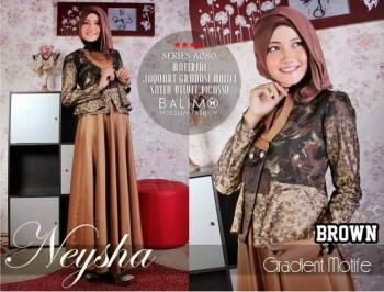 model baju kerja wanita Pusat-Gamis-Terbaru-Balimo-Neysha-Gradient-Motif-(A080)-Brown