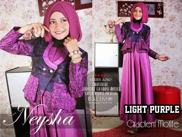 Neysha Gradient Light Purple Baju Muslim Gamis Modern