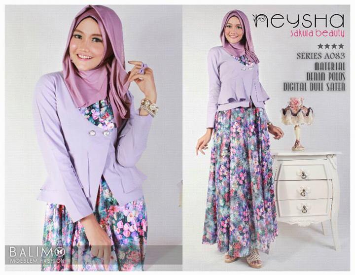 B Neysha Sakura Lavender Baju Muslim Gamis Modern
