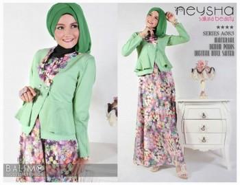 baju busana muslim modern Pusat-Gamis-Terbaru-Balimo-Neysha-Sakura-(A083)-Soft-Green