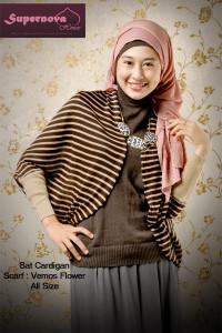 model baju terbaru Pusat-Gamis-Terbaru-Bat-Cardigan-by-Supernova-Coklat-Tua-Cream