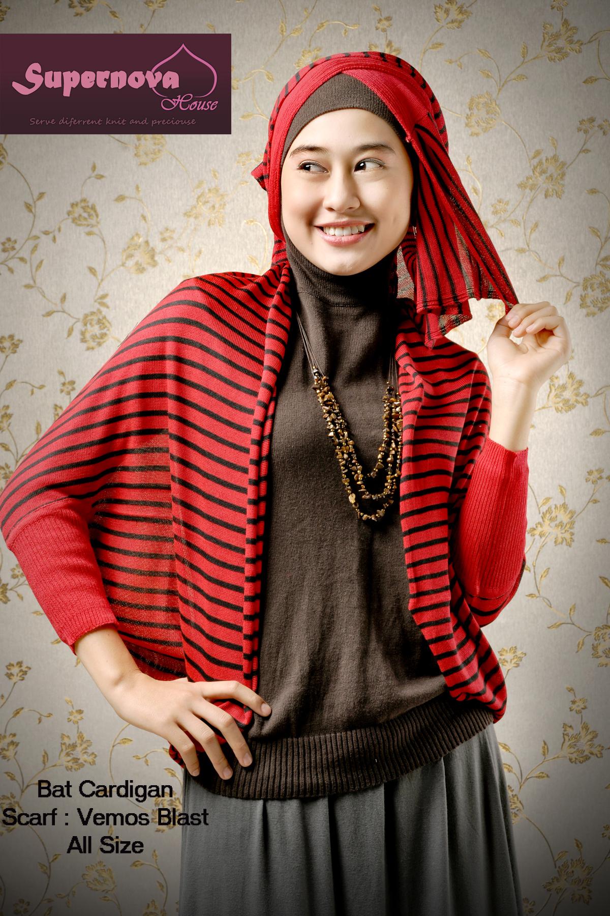 Bat Cardigan Merah Hitam Baju Muslim Gamis Modern