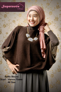baju muslim bahan sifon Pusat-Gamis-Terbaru-Batflo-Blouse-by-Supernova-Coklat-Tua