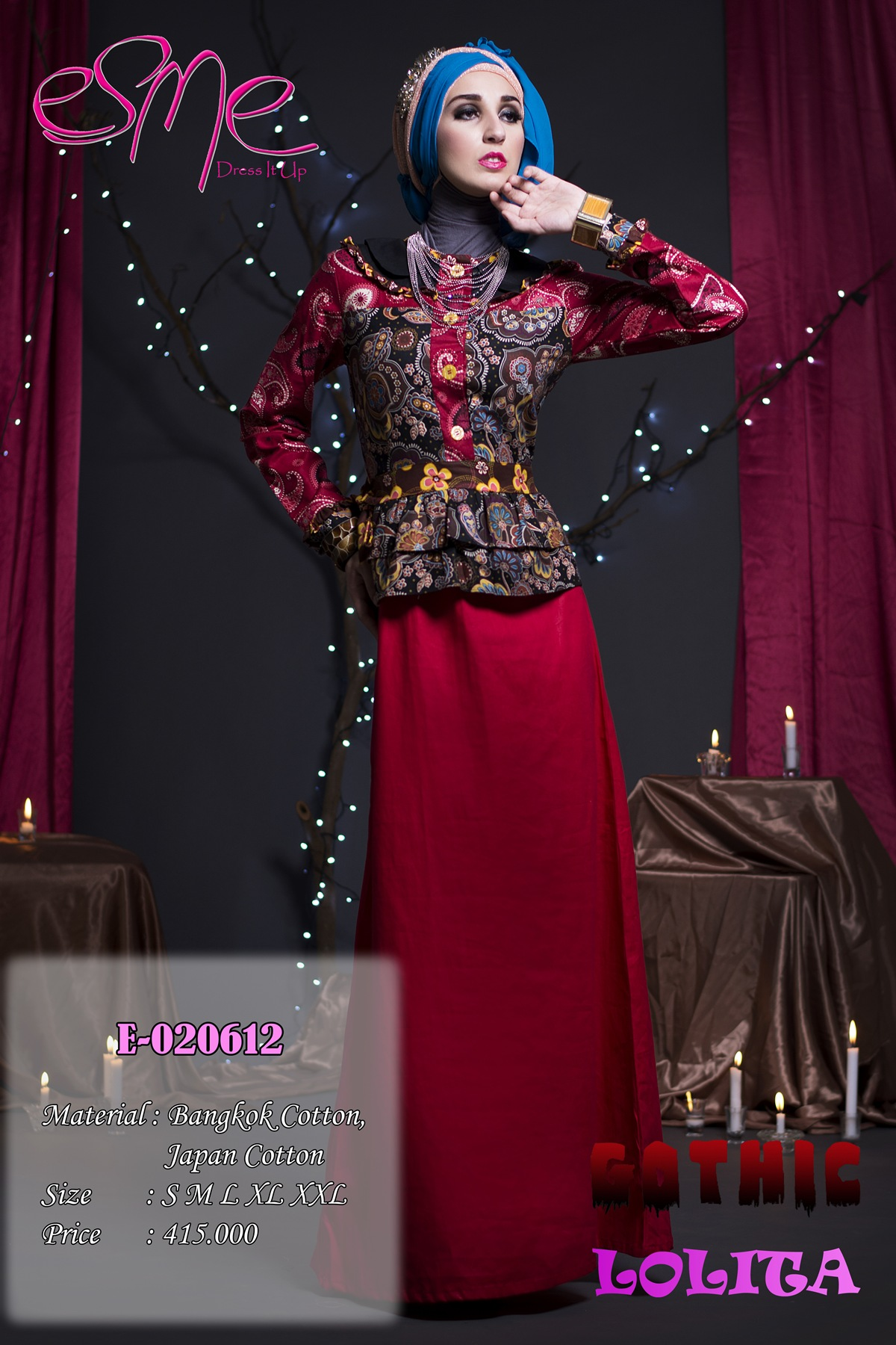 Esme Gothic Lolita E 020612 Baju Muslim Gamis Modern