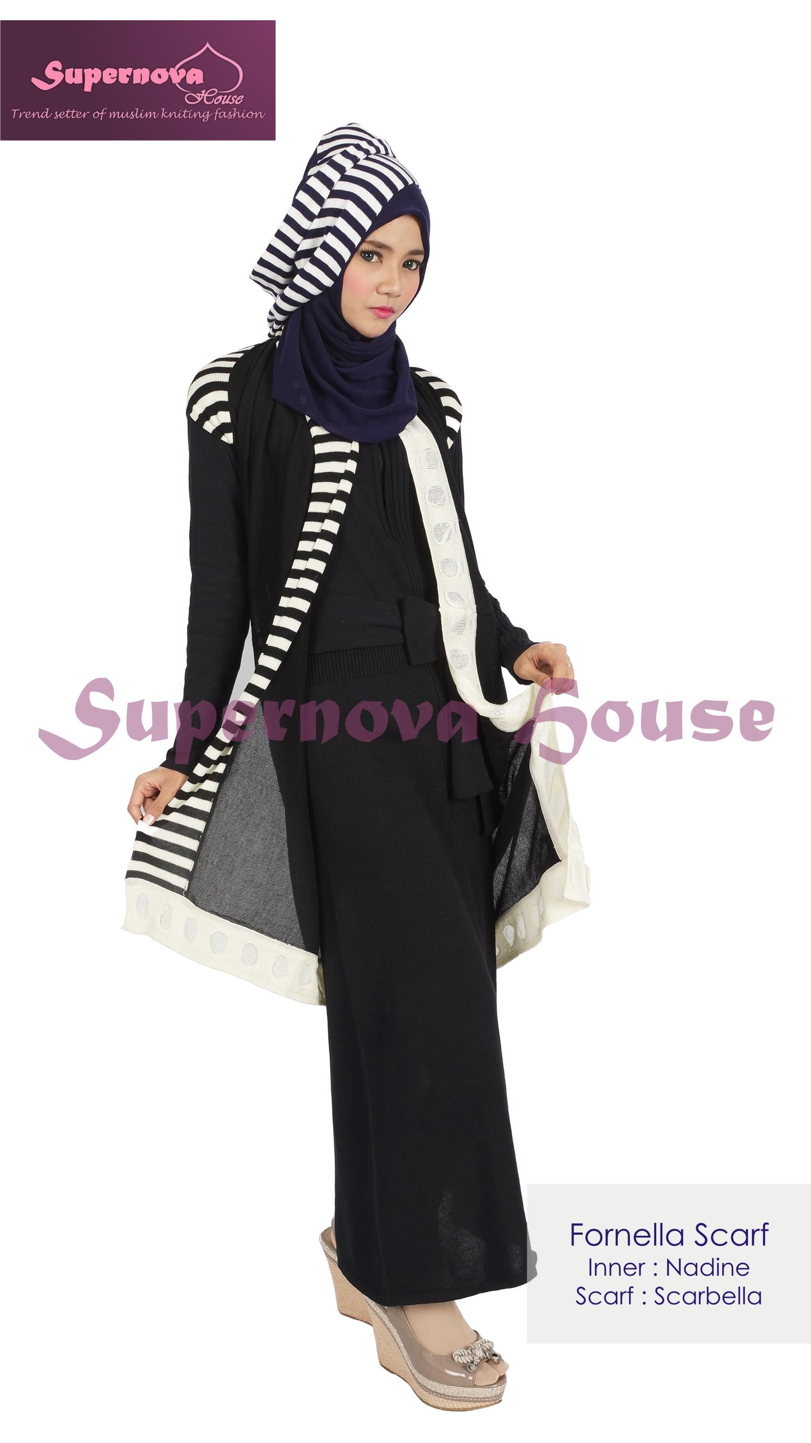 Fornella Scarf Hitam Off White Baju Muslim Gamis Modern