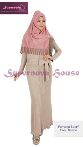baju rajut keren Pusat-Gamis-Terbaru-Fornella-Scarf-Pink-dusty-Coklat