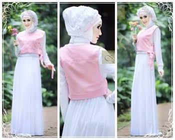 baju muslim modern full Pusat-Gamis-Terbaru-Hafadah-by-Fitria-Style-Putih