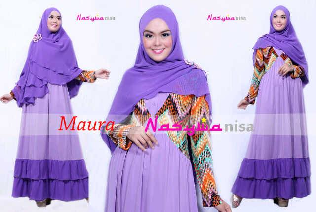 baju muslim elegan modern Pusat-Gamis-Terbaru-Maura-by-Nasywanisa-Lavender