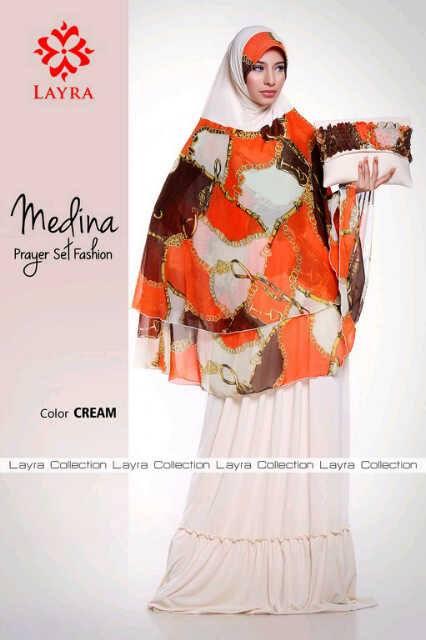 Mukena Medina Cream Baju Muslim Gamis Modern