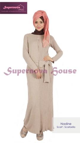 contoh baju bahan rajut halus Pusat-Gamis-Terbaru-Nadine-Cream