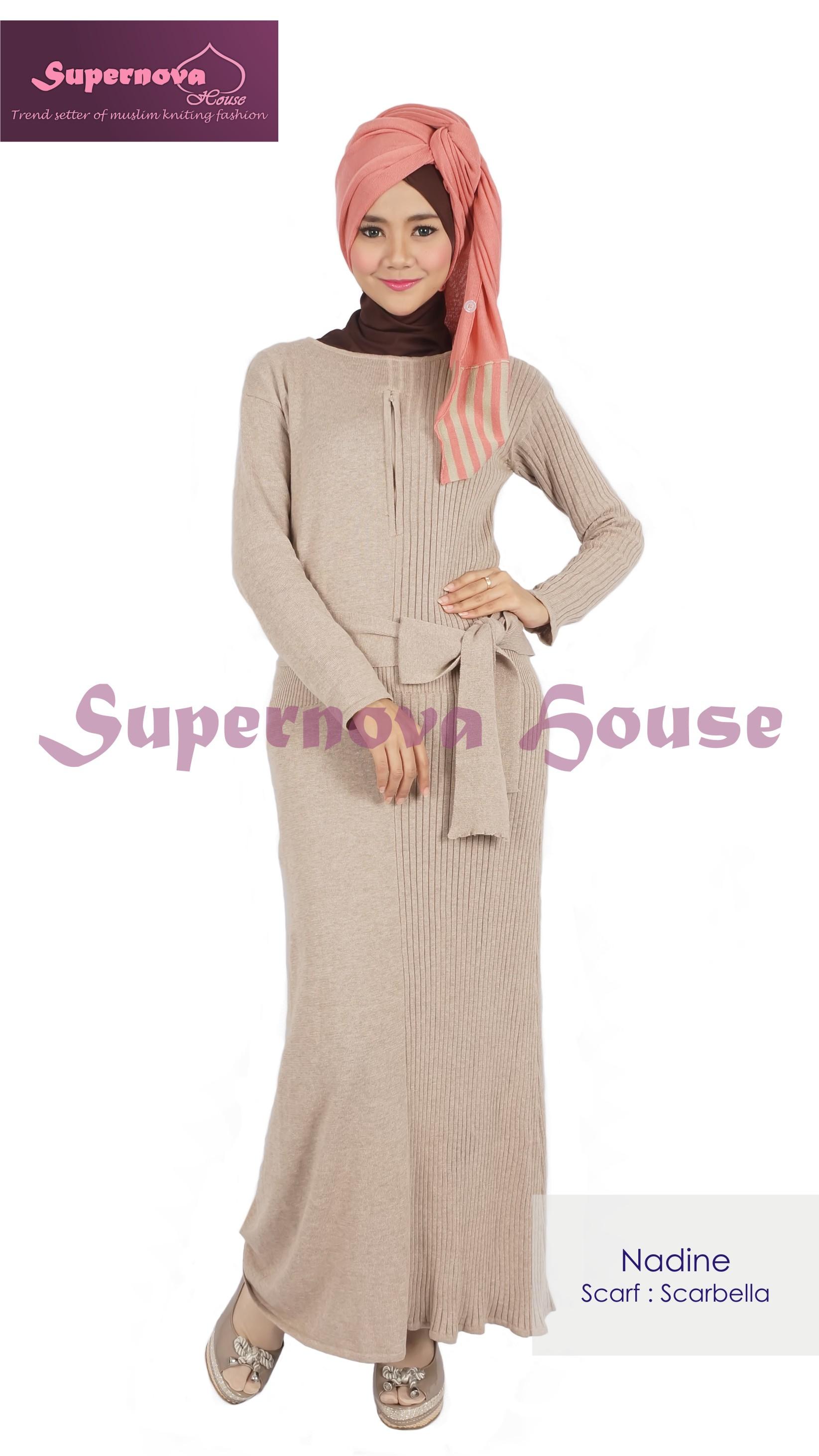 Model gamis pesta untuk ibu menyusui baju gamis pesta modern terbaru - Nadine By Supernova Cream Baju Muslim Gamis Modern