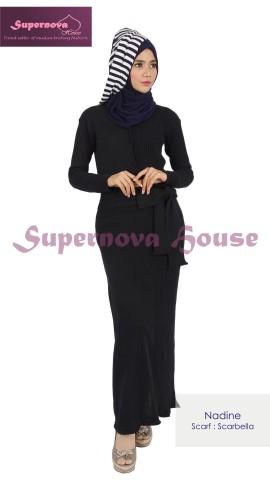 supplier baju rajut halus Pusat-Gamis-Terbaru-Nadine-Hitam