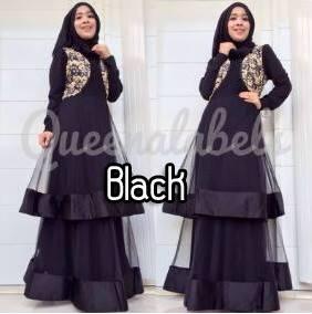 Olveira By Queena Black Baju Muslim Gamis Modern