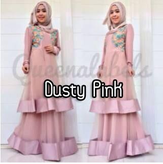 Olveira By Queena Pink Baju Muslim Gamis Modern