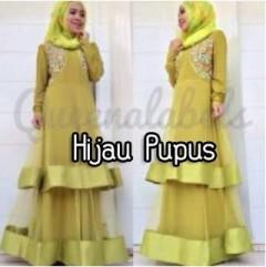 baju muslimah modis Pusat-Gamis-Terbaru-Olveira-by-Queena-Hijau-pupus