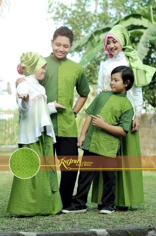 sarimbit family Pusat-Gamis-Terbaru-Rajna-16-Putih-melati-Hijau