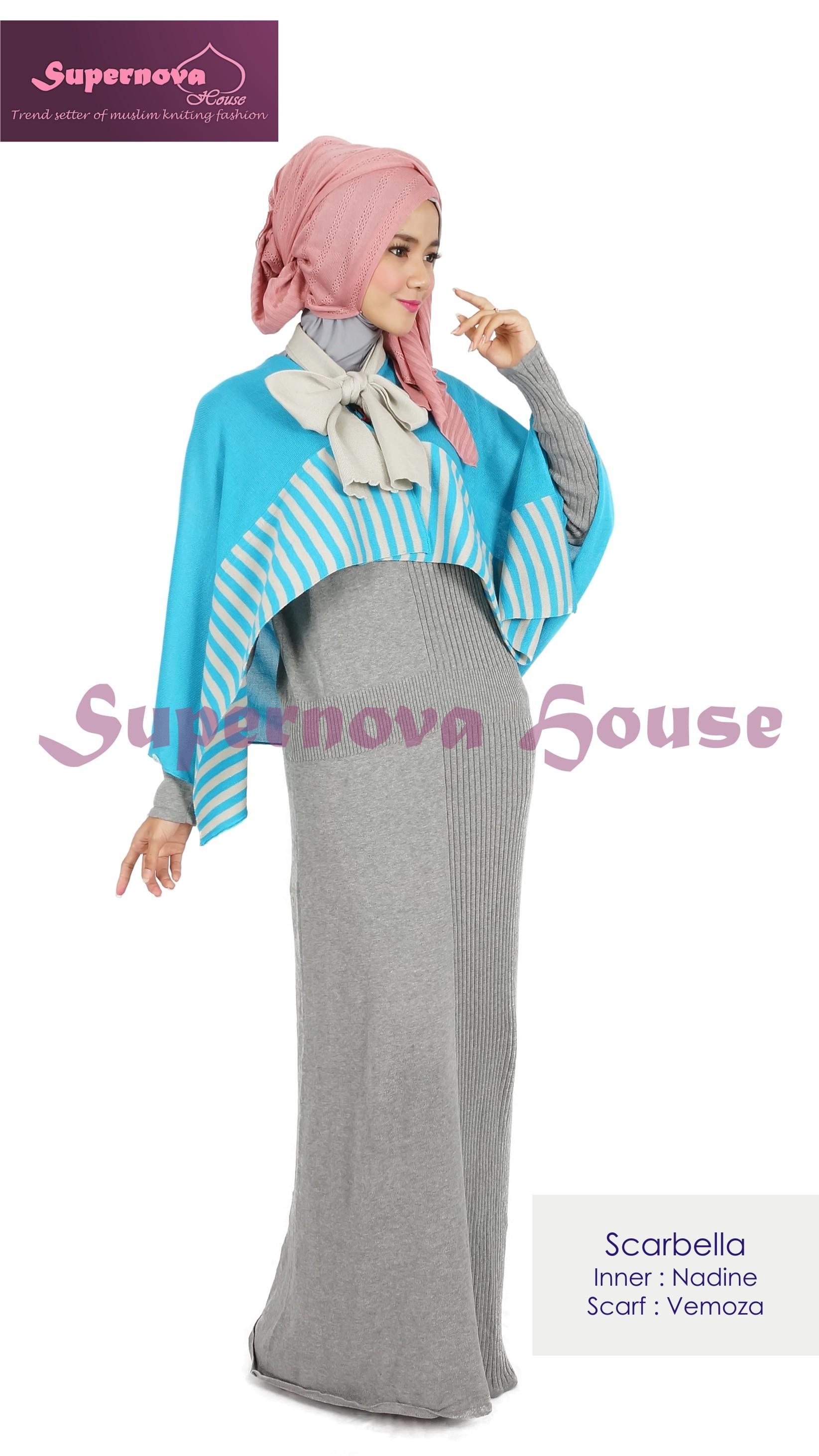 model baju bahan rajut Pusat-Gamis-Terbaru-Scarbella-Biru-Silver