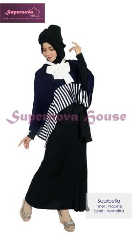 model baju muslim rajut Pusat-Gamis-Terbaru-Scarbella-navy-putih