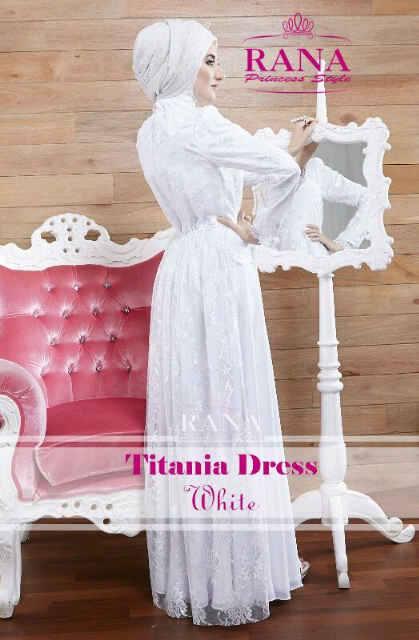 Titania Dress Putih Baju Muslim Gamis Modern