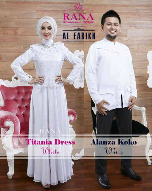 Titan alanza putih baju muslim gamis modern Baju couple gamis dan koko
