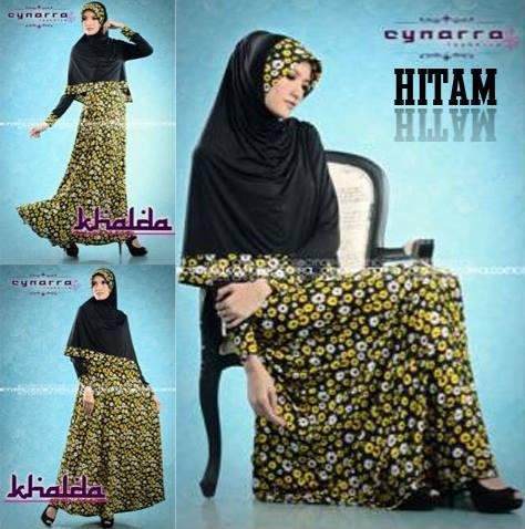 Khalda By Cynarra Hitam Baju Muslim Gamis Modern