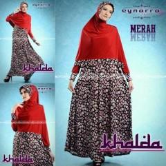 baju muslimah fashion Pusat-Gamis-terbaru-Khalda-by-Cynarra-Merah