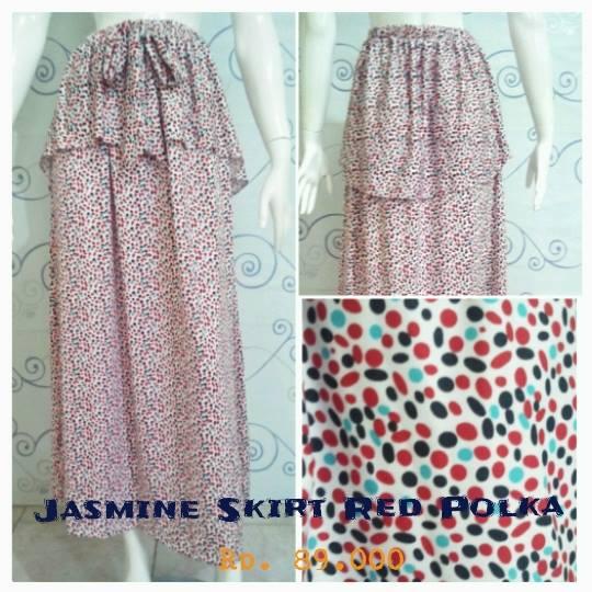 New Jasmine Skirt Red Polka Baju Muslim Gamis Modern
