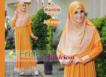 model baju ibu menyusui Pusat-Gamis-terbaru-kamila-by-frishka-Soft-orange