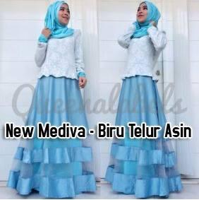 New Mediva Biru Ts Baju Muslim Gamis Modern