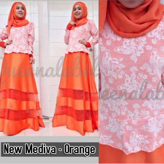 New Mediva Orange Baju Muslim Gamis Modern