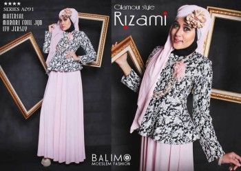 baju muslim fashion Gamis-Terbaru-BALIMO-RIZAMI-Vol-III-Light-Pink