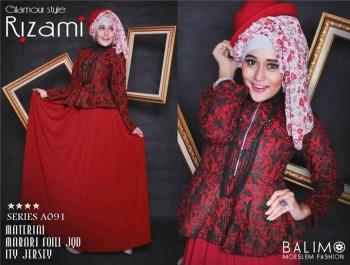 baju muslimah gaya Gamis-Terbaru-BALIMO-RIZAMI-Vol-III-Merah