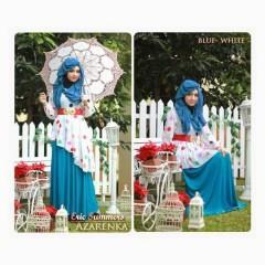 model baju muslim etnik Gamis-Terbaru-New-Azarenka-by-Ericsummer-Blue-White
