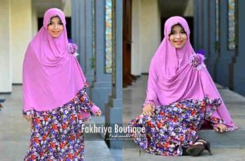 model busana pesta muslim modern Pusat-Gamis-Terbaru-Agniya-Dress-Pink
