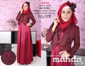 baju muslim fashion grosir Pusat-Gamis-Terbaru-BALIMO-MAHDA-Maroon